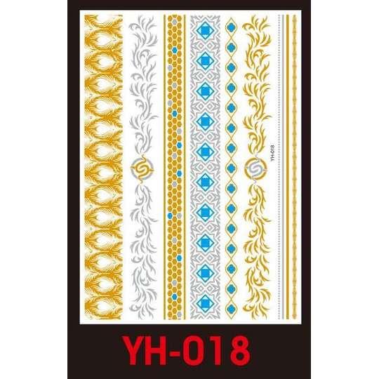 Tatuaże Metalic Złote Srebrne Flash Tatto Yh 018