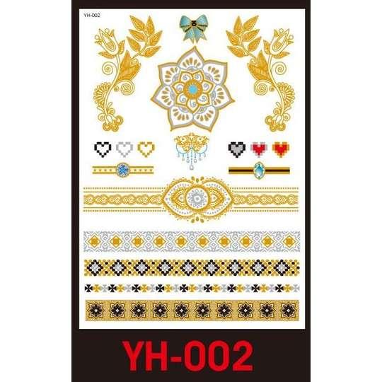 Tatuaże Metalic Złote Srebrne Flash Tatto Yh 002
